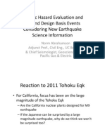Seismic Hazard Evaluation andBeyond Design Basis EventsConsidering New EarthquakeScience Information