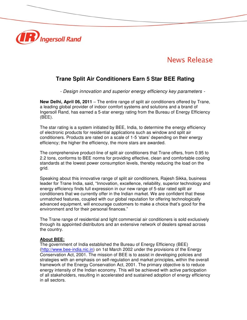 Trane Split Air Conditioners Earn 5 Star BEE Rating | Efficient Energy Use  | Air Conditioning