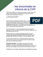 Posiciones Encontradas en Torno Al Informe de La CVR