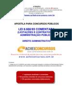 Apostila da Lei de Licitações e Contratos Comentada (Lei 8.666/93) para Concursos