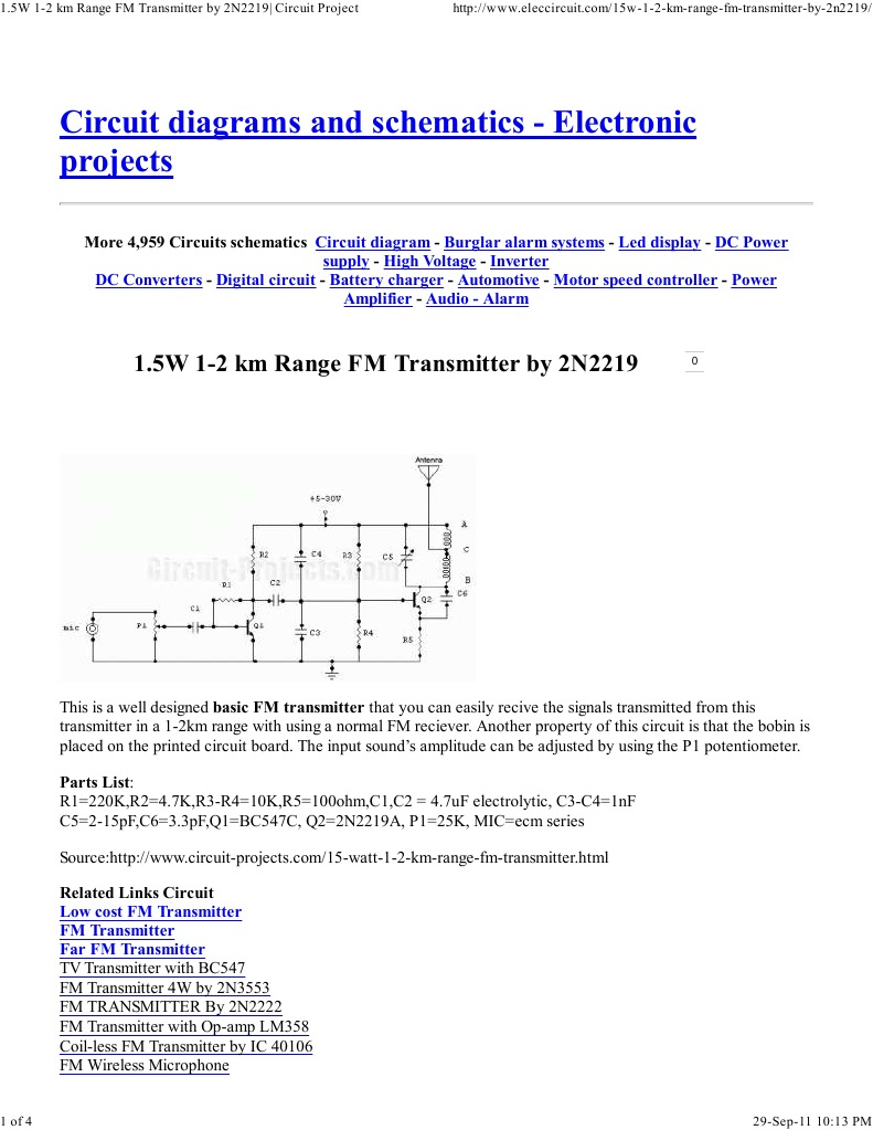 15w 1 2 Km Range Fm Transmitter By 2n2219 Circuit Project Sw Converter For Am Radiocircuitdiagram Electronic Circuits