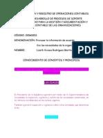 DOCUMENTACIÒN Y REGISTRO DE OPERACIONES CONTABLES