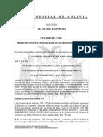 Ley 261 Construcción, Implementación y Administración del Sistema de Transporte por Cable (Teleférico) en las Ciudades de La Paz y El Alto