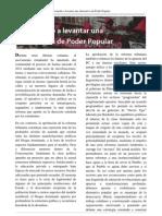 Tribuna Libertaria Invierno 2012, Apostando a levantar una alternativa de Poder Popular
