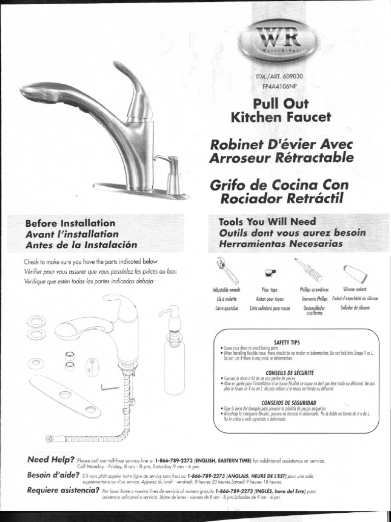 Water Ridge Replacement Parts : Fp a np kitchen faucet parts list water ridge