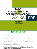 RECENT ADVANCEMENT IN SOLAR TECHNOLOGY
