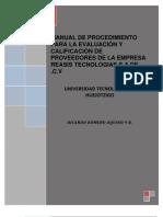 MANUAL DE PROCEDIMIENTO PARA LA EVALUACIÓN Y CALIFICACIÓN DE PROVEEDORES