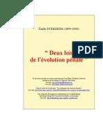 Durkheim (1899), Deux lois de l'évolution pénale