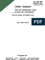 Is 1199-1959 Methods of Sampling & Analysis of Concrete