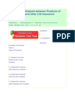 Comparative Analysis Between Products of Reliance Life and Other Life Insurance Companies