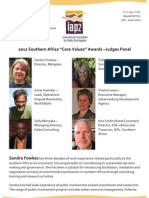 Judges Panel - 2012 Southern Africa Core Values Awards for Excellence in Public Participation