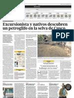 Excursionitas y Nativos Descubren Un Petroglifo en La Selva de Cusco