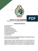 Anteproyecto de Nueva Ley Del Profesorado SUTEP