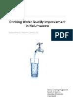 Drinking Water Quality Improvement in Nelumwewa