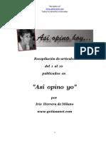 """""""Así opino yo"""" - Artículos de fácil lectura que pueden orientarnos sobre temas cotidianos"""