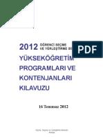 2012 ÖSYS KONTENJAN KILAVUZ (16.7.2012)