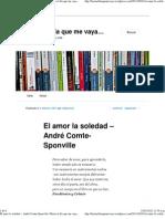 El amor la soledad – André Comte-Sponville - Citas