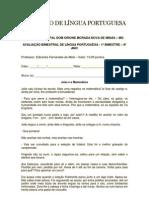 AVALIAÇÃO DE LÍNGUA PORTUGUESA 8º ANO