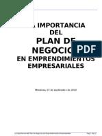 La Importancia Del Plan de Negocios en Emprendimientos Empresariales