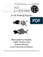 SFUO Student Appeal Centre 2008 Annual Report - Mistreatment of Students, Unfair Practices and Systemic Racism at the University of Ottawa