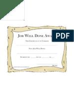Job Well Done Award Tan Frame