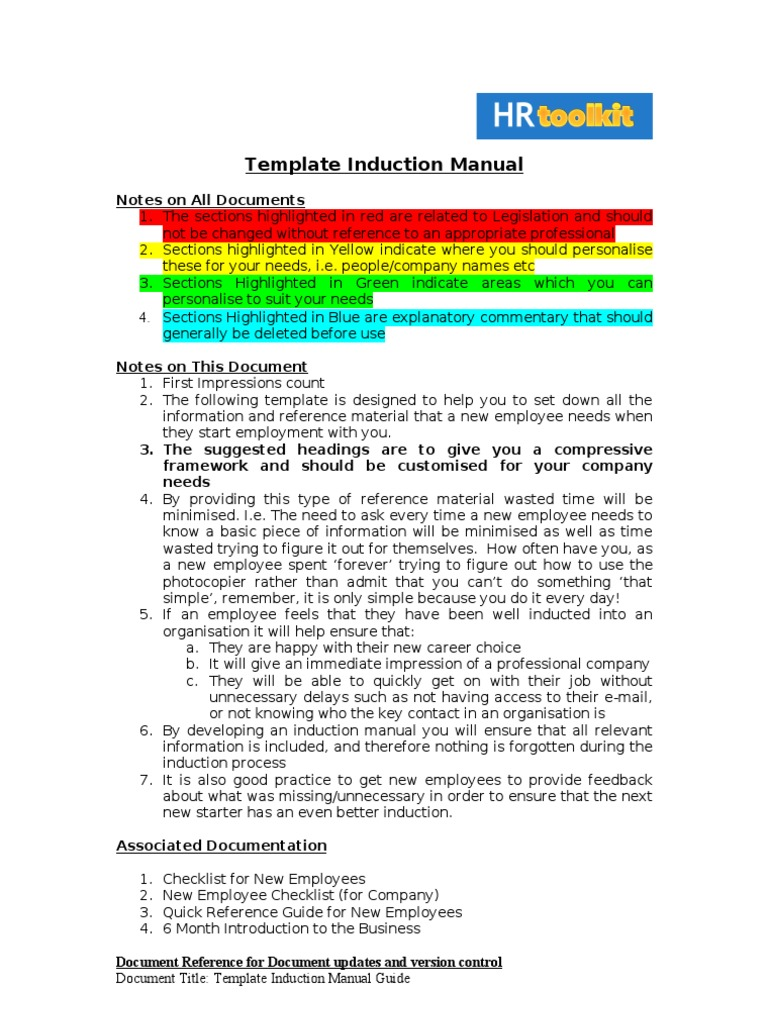 Sample Template Induction Manual Microsoft Outlook – Reference Manual Template
