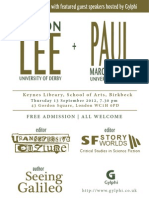 Evening reception with Jason Lee and Paul March-Russell, Birkbeck, Keynes Library, Thursday 13 September 2012, Poster