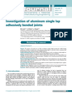 Investigation of Aluminum Single Lap Adhesively Bonded Joints