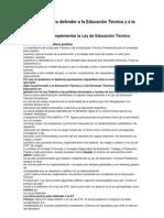 Doce puntos para defender a la Educación Técnica y a la Escuela