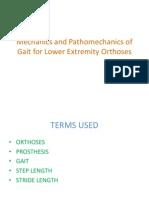 Mechanics and Pathomechanics of Gait for Lower Extremity