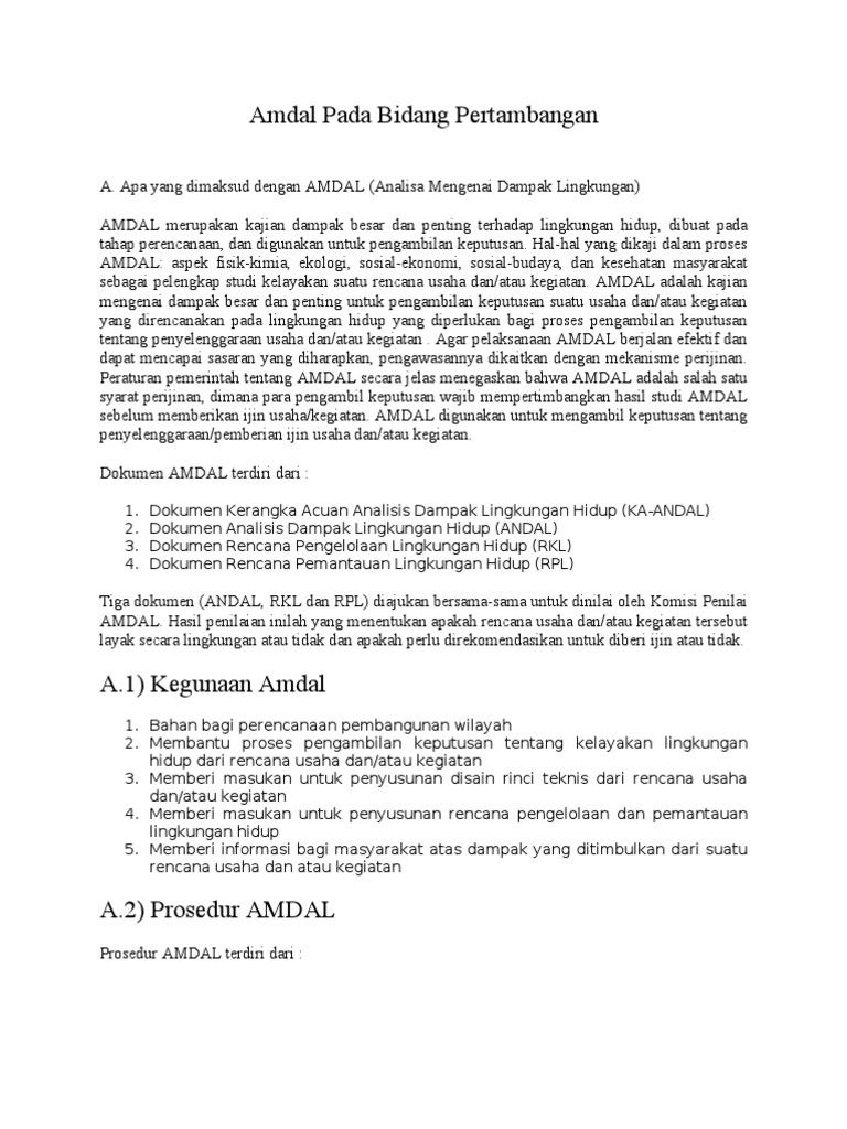 Dokumen Serupa Dengan Amdal Pada Bidang Pertambangan