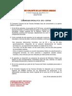 COMUNICADO OFICIAL Nº 25 - 2012 – CCFFAA