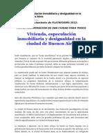 Vivienda, especulación inmobiliaria y desigualdad en CABA - Plataforma 2012