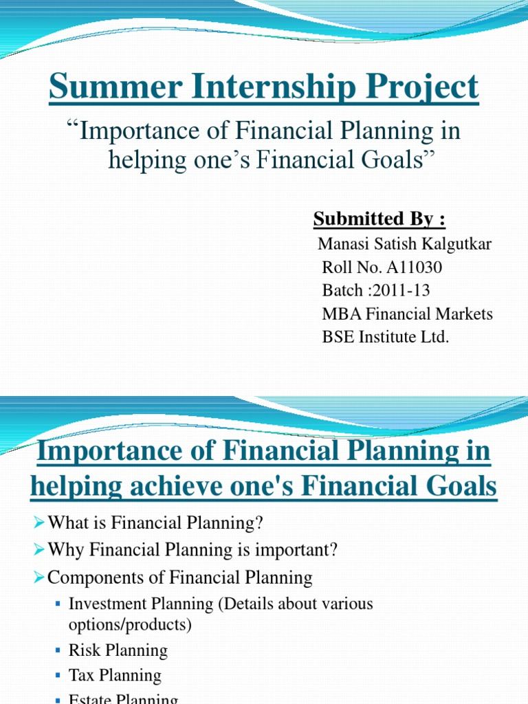 Research Report Financial Planning | Insurance | Mutual Funds