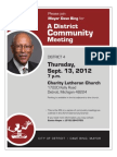 Mayor Dave Bing - Community Meeting Flyer District 4