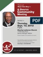 Mayor Dave Bing - Community Meeting Flyer District 4