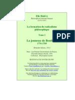 Élie Halévy, La Formation du radicalisme philosophique. Tome I