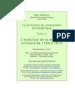 Élie Halévy, La Formation du radicalisme philosophique.Tome II