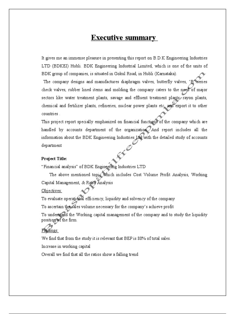 A project report on financial analysis at b d k ltd hubali valve a project report on financial analysis at b d k ltd hubali valve quality assurance ccuart Image collections