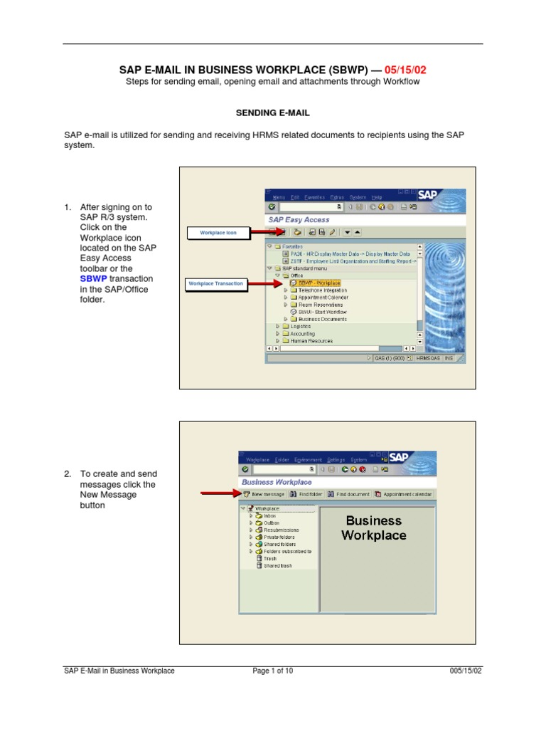 SAP EMail in Business Workplace (SBWP) 5 15 02 | Email