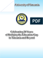 THE OPEN UNIVERSITY OF TANZANIA,20th Anniversary Booklet.