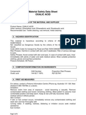 Material Safety Data Sheet of OXALIC ACID   Dangerous Goods