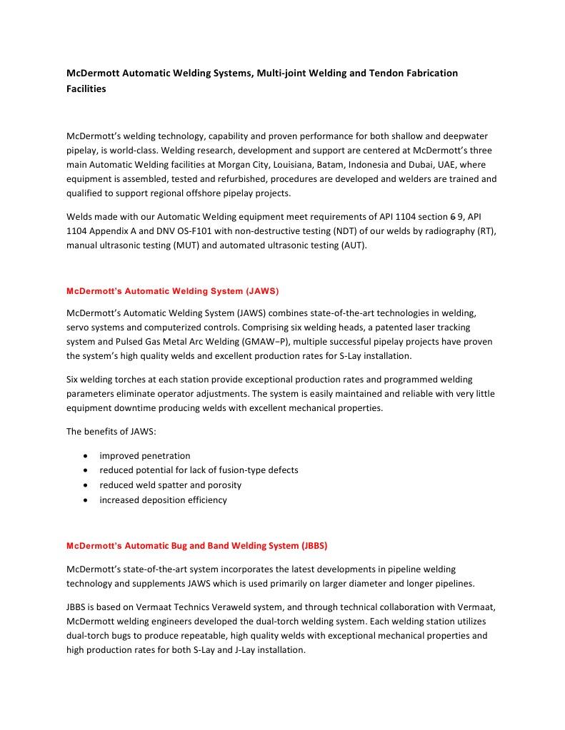 Floating - McDermott Welding Systems and MJWF rev 1 28 Aug   Welding