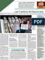 """""""Aiutateci a salvare l'archivio dei francescani"""" - Il Resto del Carlino del 12 settembre 2012"""