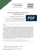 Economic Feasibility of Waste Heat