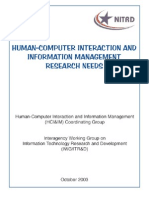 Human-Computer Interaction and Information Management Research Needs