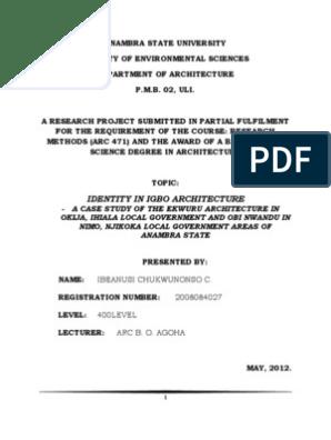Identity in Igbo Architecture- A Case Study of the Ekwuru in Okija