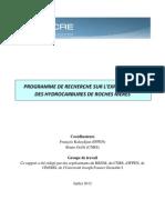 PROGRAMME DE RECHERCHE SUR L'EXPLOITATION DES HYDROCARBURES DE ROCHES MERES