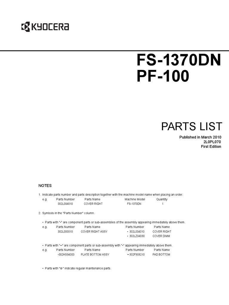 kyocera pf 8e parts list