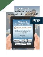 """Programme du colloque """"La Tablette tactile"""